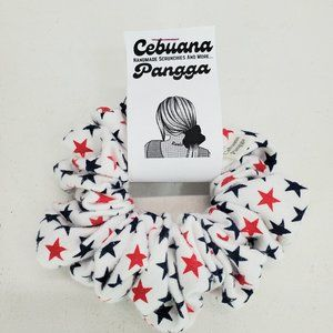 Handmade Women's Scrunchies Large White Star Print